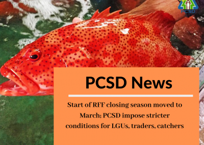 Start of RFF closing season moved to March,  PCSD impose stricter conditions for LGUs, traders, catchers